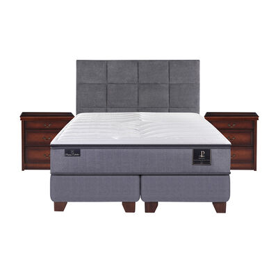 Box Spring Premium King Base Dividida + Mueble + Respaldo Tamesis