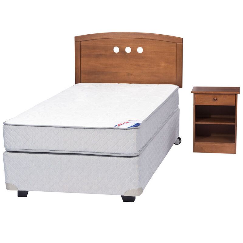 Box Spring Therapedic 1,5 Pl Flex + Muebles Juvenil