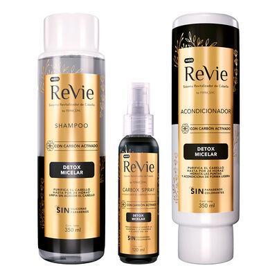Revie Shampoo + Acondicionamiento + Spray Detox Carbón