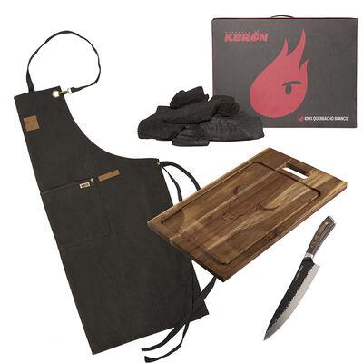 Set Parrillero Wayu Carbón + Tabla + Cuchillo Hammer + Delantal