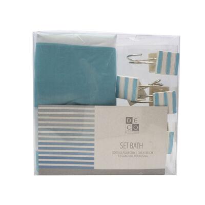 Set  Baño Bath Lineas Azules
