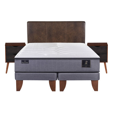 Cama Europea Premium King Base Dividida + Mueble + Respaldo Baker
