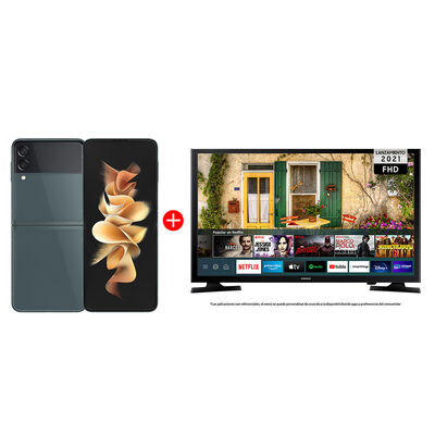 "Combo Celular Samsung Galaxy Z Flip3 5G 256GB Green + LED 40"" Samsung T5290 Smart TV FHD"