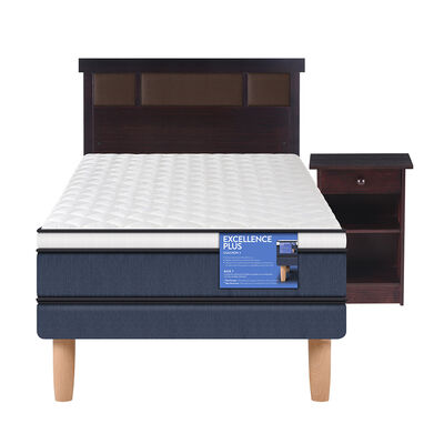 Cama Europea Excellence Plus 1 Plaza Base Normal + Mueble + Respaldo New Dublin Choc