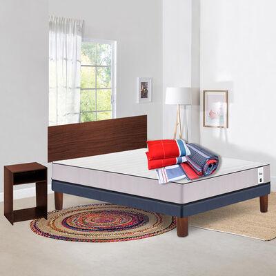 Combo Cama Europea CIC 2 Plazas New Titán + Set Maderas Nogal + Set Textiles + Almohadas