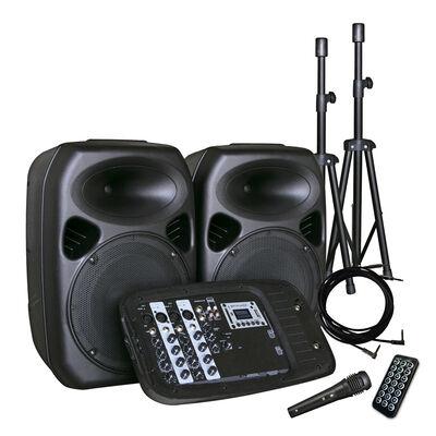 Combo Audio 2 Parlantes Minicomponente + 2 Atriles + Amplificador + Micrófono Inalámbrico Hyundai