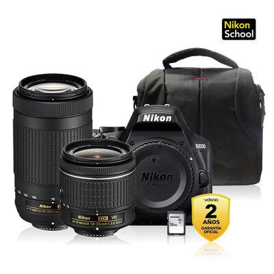 Cámara Réflex Nikon + Bolso + Memoria 16GB D3500 + Lentes 18-55mm