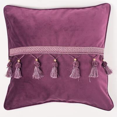 Cojín Velvet con Flecos Purple 45 x 45 cm