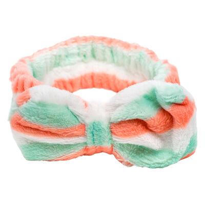 Cintillo Make Up Bow Rayas Verde, Melon Y Blanco  Skinlab