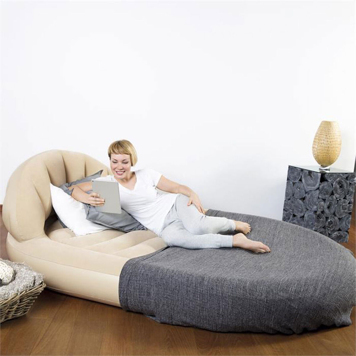 Colchon Inflable Bestway Con Respaldo Royal Round