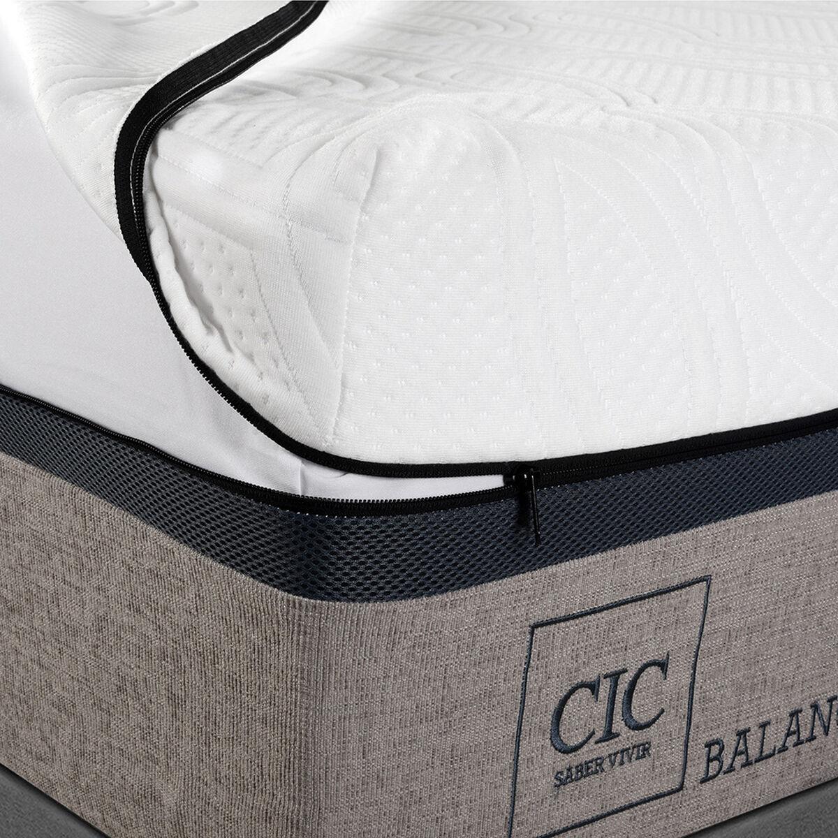 Cama Europea Balance 2 Plazas Base Dividida + Mueble + Respaldo New Torino Choc