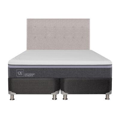 Box Spring Ortopedic Advance 2 Plazas Base Dividida + Mueble + Respaldo Tigris