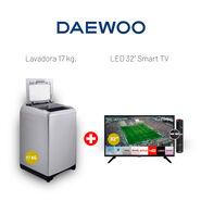 "Combo Daewoo Lavadora Automática 17 Kg + LED 32"" Smart TV"