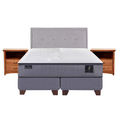 Box Spring Premium 2 Plazas Base Dividida + Mueble + Respaldo Ganges