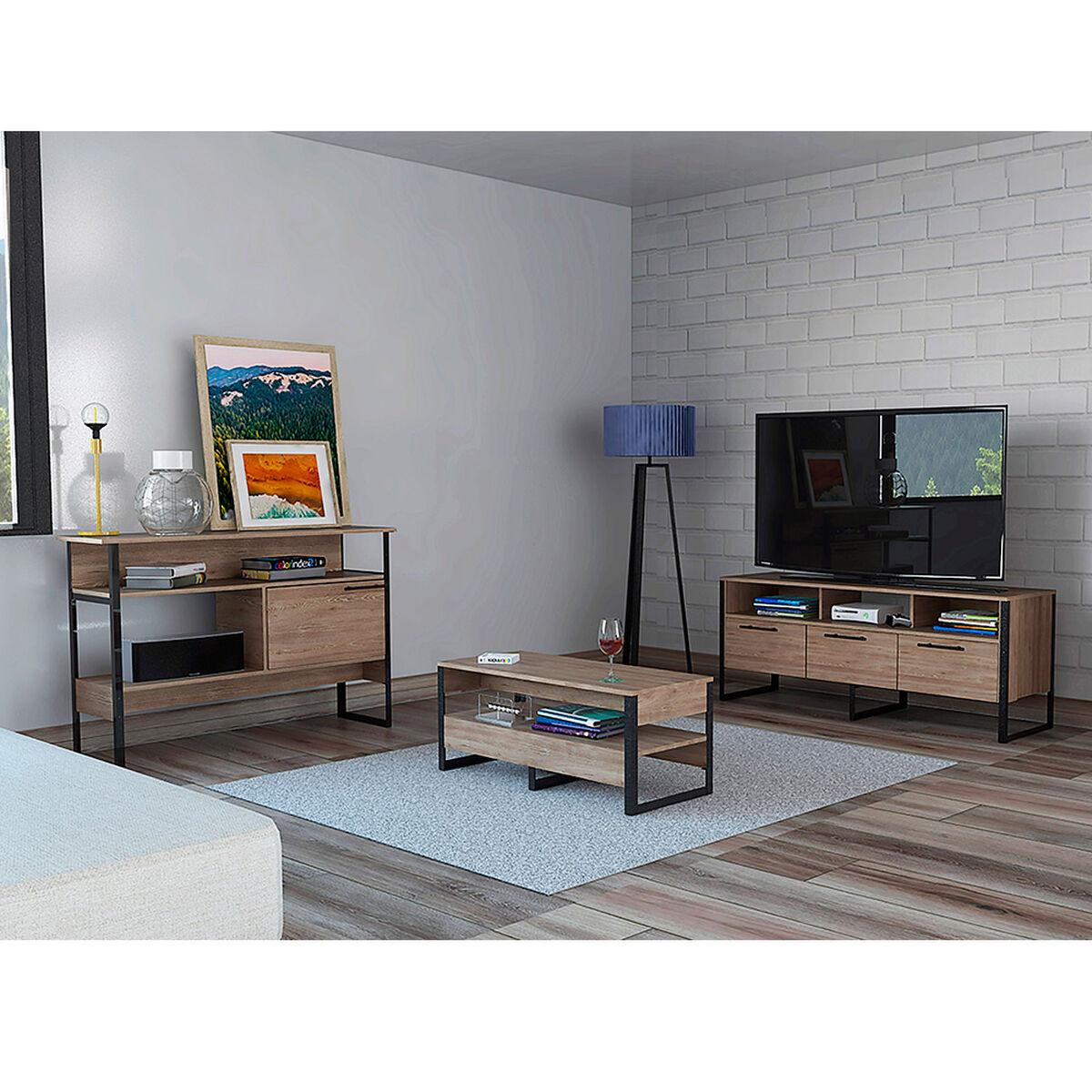 """Rack Tv 60"""" + Biblioteca + Arrimo + Mesa Centro Magnum"""