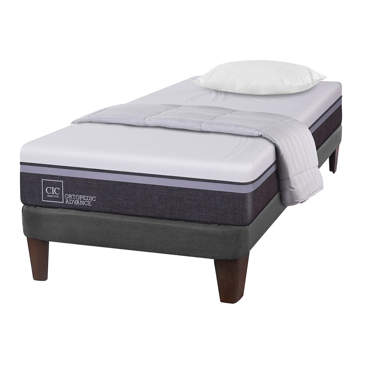 Cama Europea 1,5 Plaza Ortopedic Advance + Textil