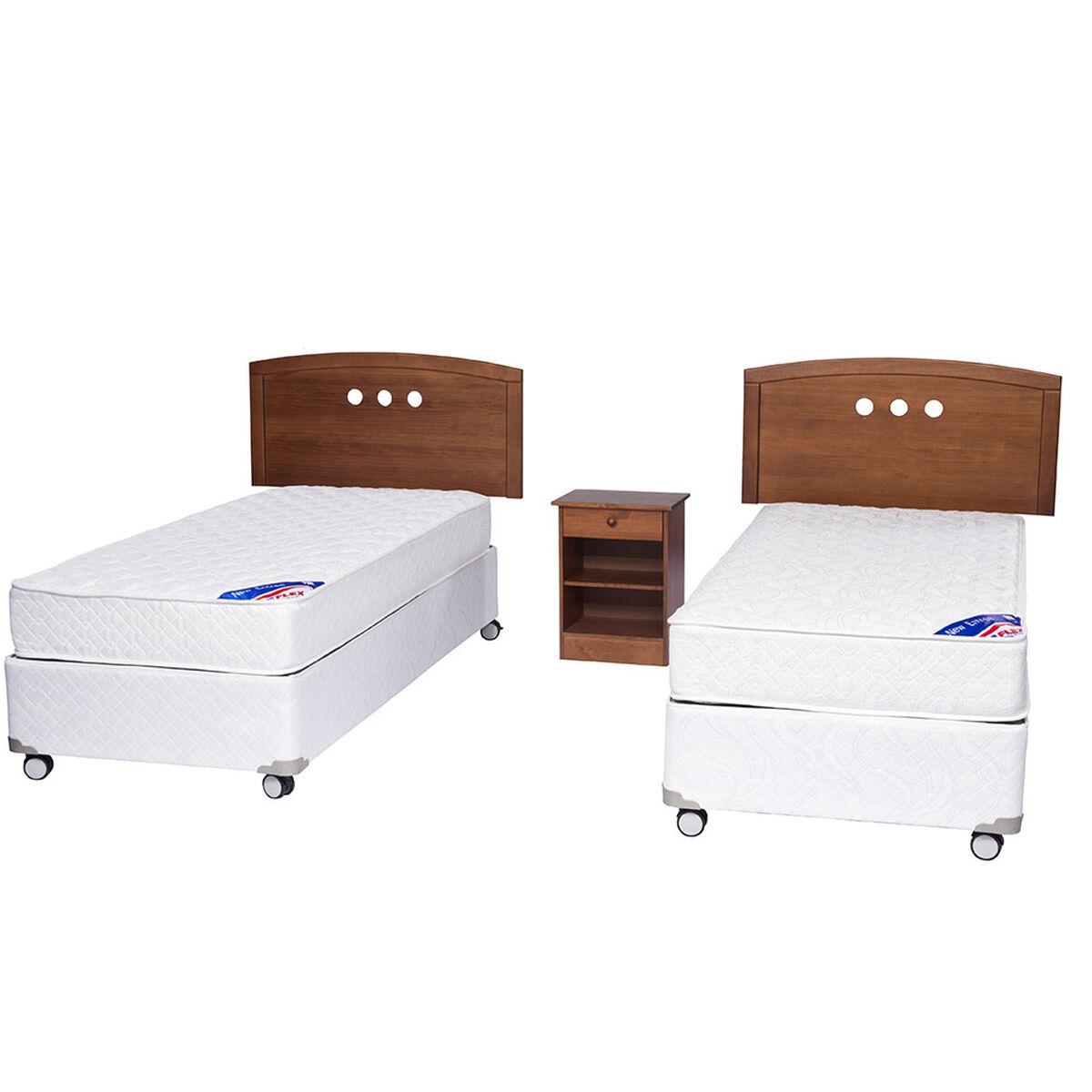 Doble Box Americano New Entree 1 Pl Flex + Muebles Juvenil