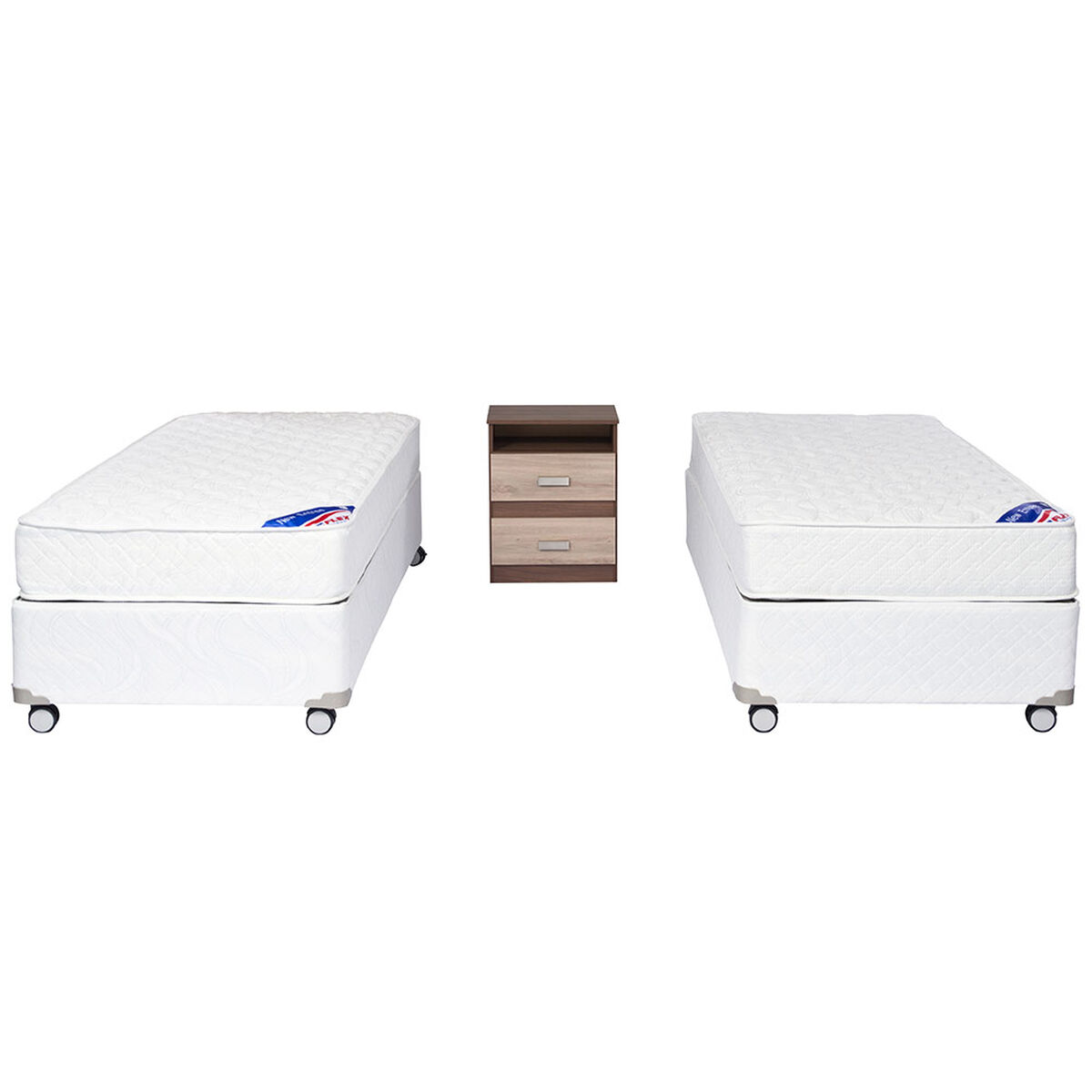 Doble Box Americano New Entree 1 Pl Flex + Velador Milano