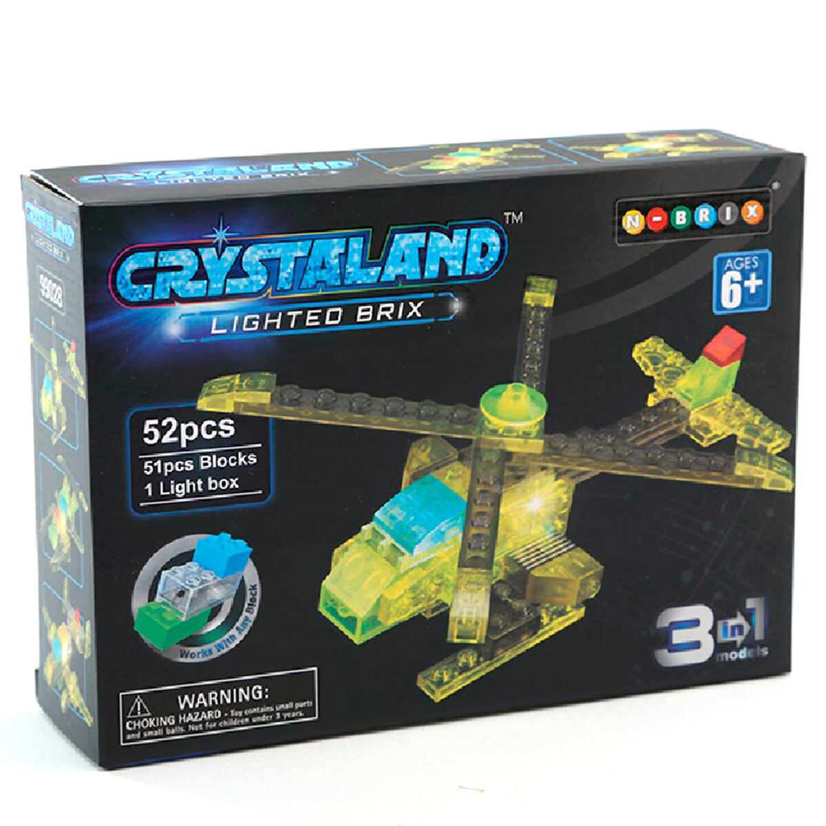 Set Bloques Crystaland Lighted Brix Helicóptero