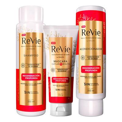 Revie Shampoo + Acondicionador + Máscara Regeneración Profunda