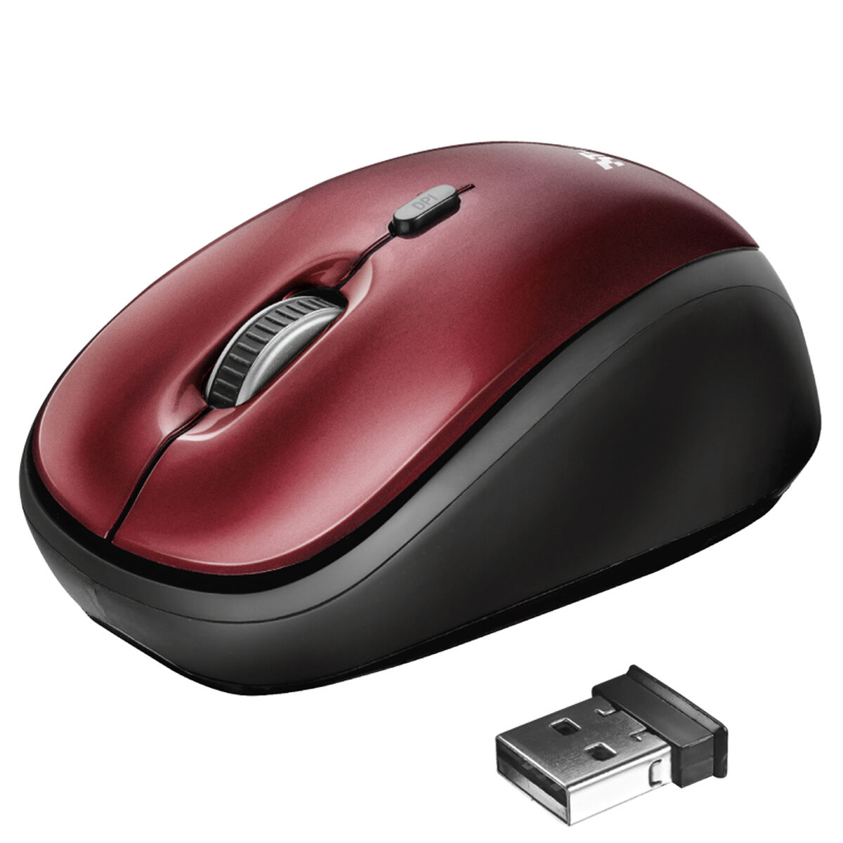 Mouse Óptico Yvi Inalámbrico Trust Rojo