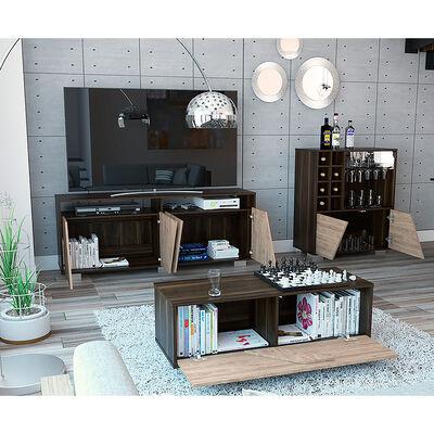 """Rack Tv 70"""" + Bar + Mesa Centro Fraktal"""