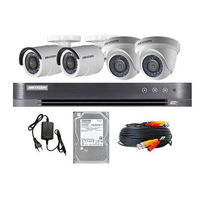 Kit Cámaras de Seguridad Hikvision CCTV 4 Cámaras KIT 4ch HD 720P