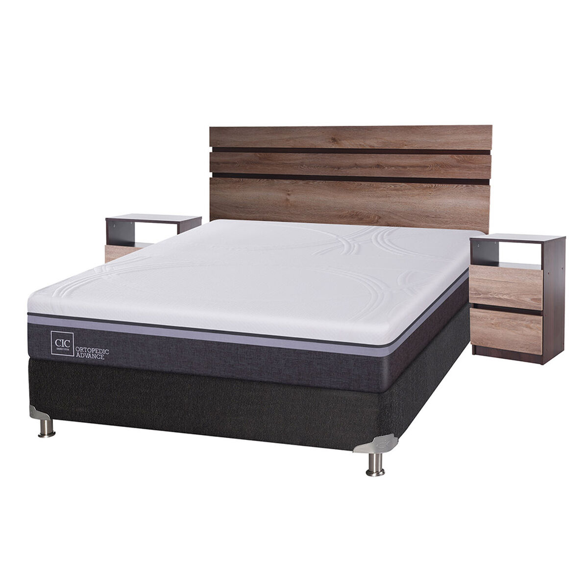 Box Spring 2 Plazas  Ortopedic Advance + Set Maderas Ares