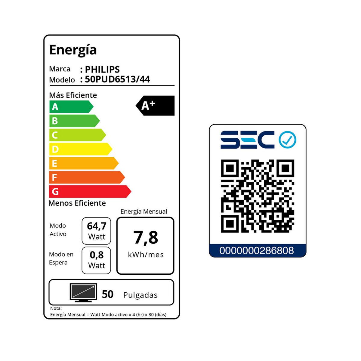 """LED 50"""" Philips 50PUD6513 Smart TV Ultra HD 4K"""