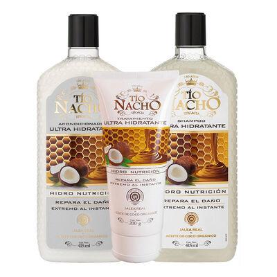 Pack Tío Nacho Coco Ultra Hidratante Shampoo + Acondicionador + Tratamiento