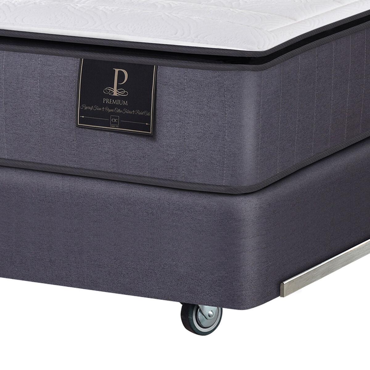 Box Spring CIC Base Dividida King Premium + Set Textiles + Almohadas