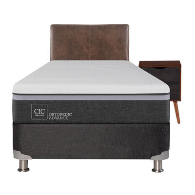 Box Spring Ortopedic Advance 1,5 Plazas Base Normal + Mueble + Respaldo Baker