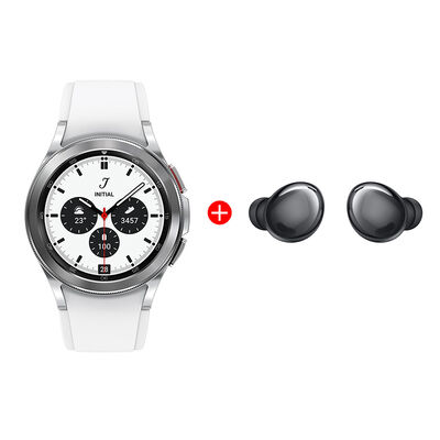 Combo Smartwatch Samsung Galaxy Watch4 Classic 42mm Silver + Audífonos Bluetooth Samsung Galaxy Buds Pro Phantom Black
