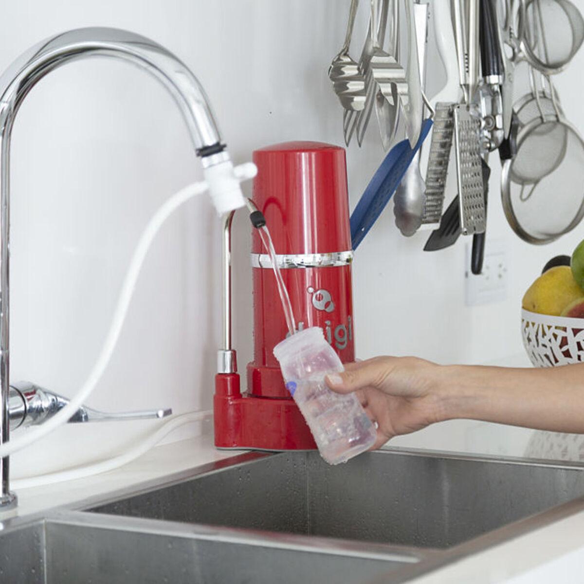 Purificador de Agua Filtro Sobre Cubierta + Botella Magnum Dvigi Rojo