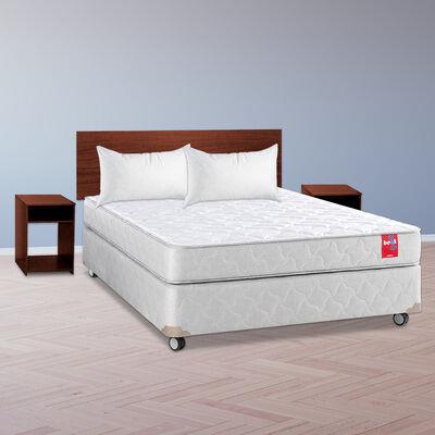 Combo Cama Americana Rosen 2 Plazas Beat + Respaldo + 2 Veladores Casanova Nogal + 2 Almohadas Celta Imperial Soft 45 x 65 cm
