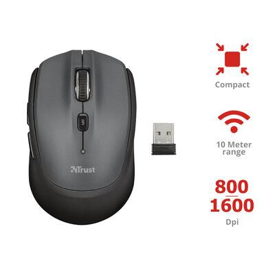 Mouse Compacto Inalámbrico Trust Negro
