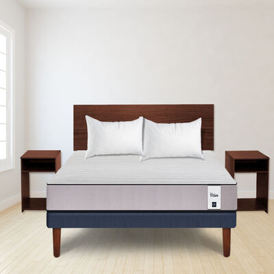 Combo Cama Europea CIC 2 Plazas New Titán + Set Maderas Nogal + Pack Almohadas Imperial Soft