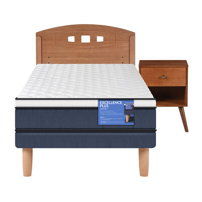 Cama Europea CIC 1,5 Plazas Excellence Plus + Respaldo + Velador New Gales