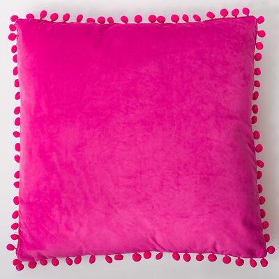 Cojín Velvet con Pompones Fucsia 45X45 cm