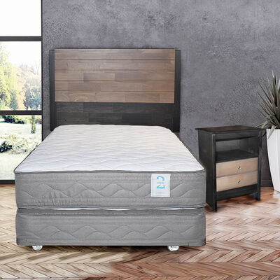 Box Spring 1,5 Plazas New Style 2 + Set Maderas Karl
