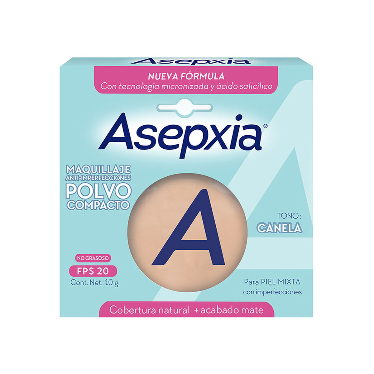 Asepxia Maquillaje Polvo Compacto Canela 10 gr