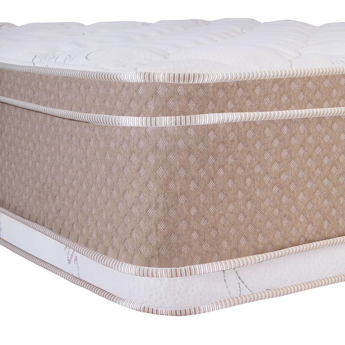 Cama Europea Celta Base Dividida King Cotton Organic + Respaldo + 2 Veladores