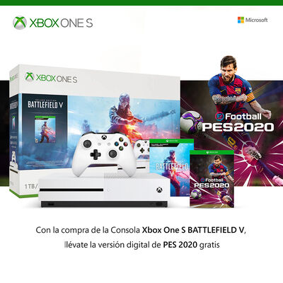Consola Xbox One S 1TB Battlefield V + Juego PES 2020
