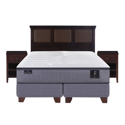 Box Spring Premium King Base Dividida + Mueble + Respaldo New Torino