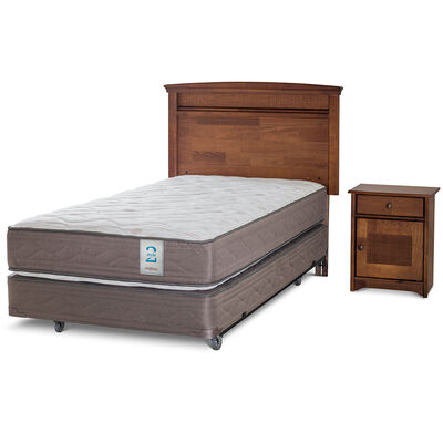 Box Spring 1,5 Plazas New Style 2 + Set Maderas Veneto
