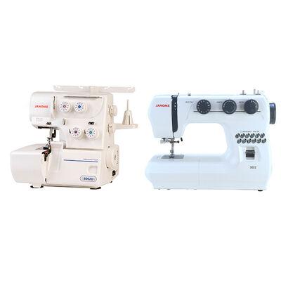 Máquina de Coser Janome 3022 + Máquina Overlock Janome 8002D