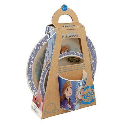 Set 3 Piezas Vajilla Infantil Material Ecologico Frozen Celeste