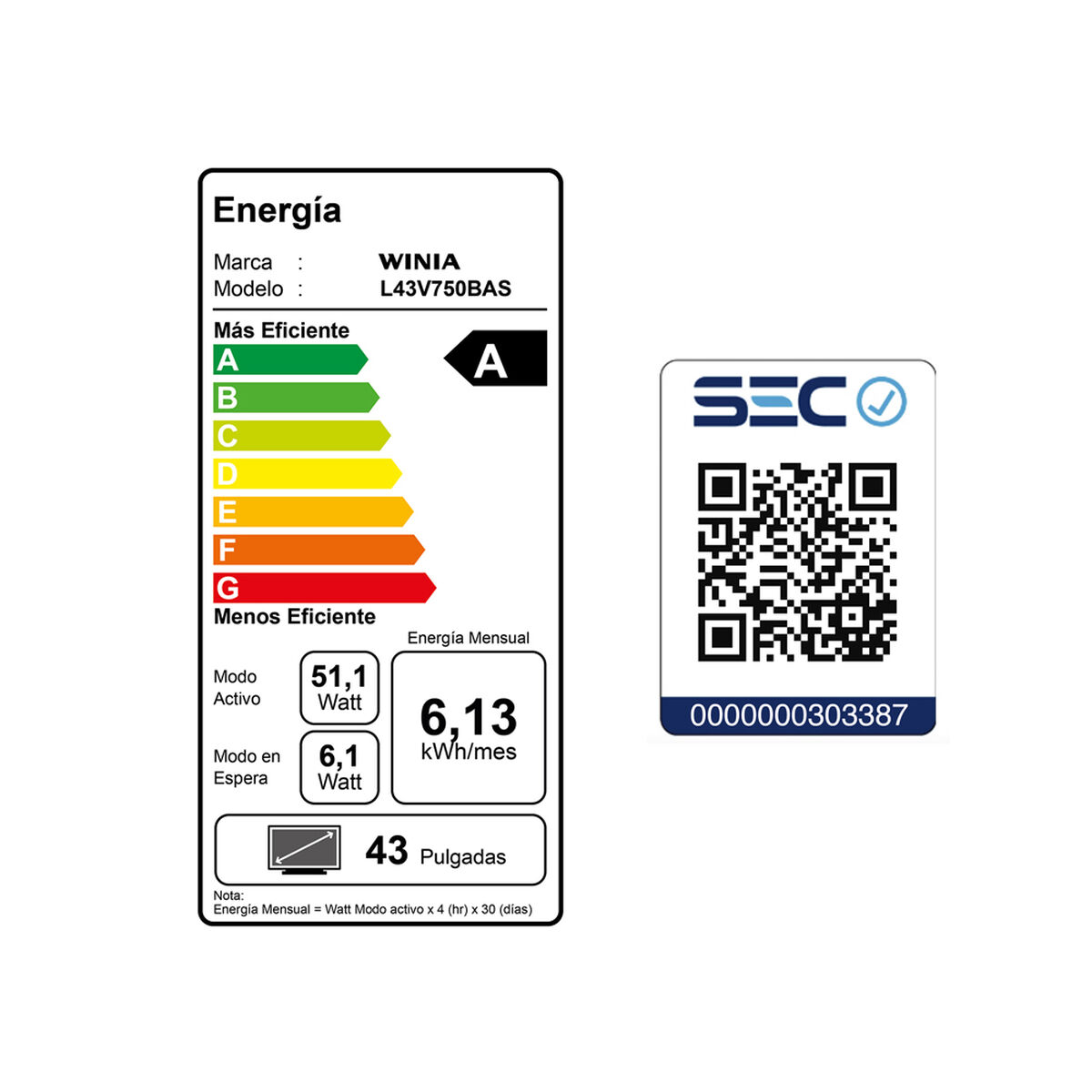 "LED 43"" Winia L43V750BAS Smart TV FHD"