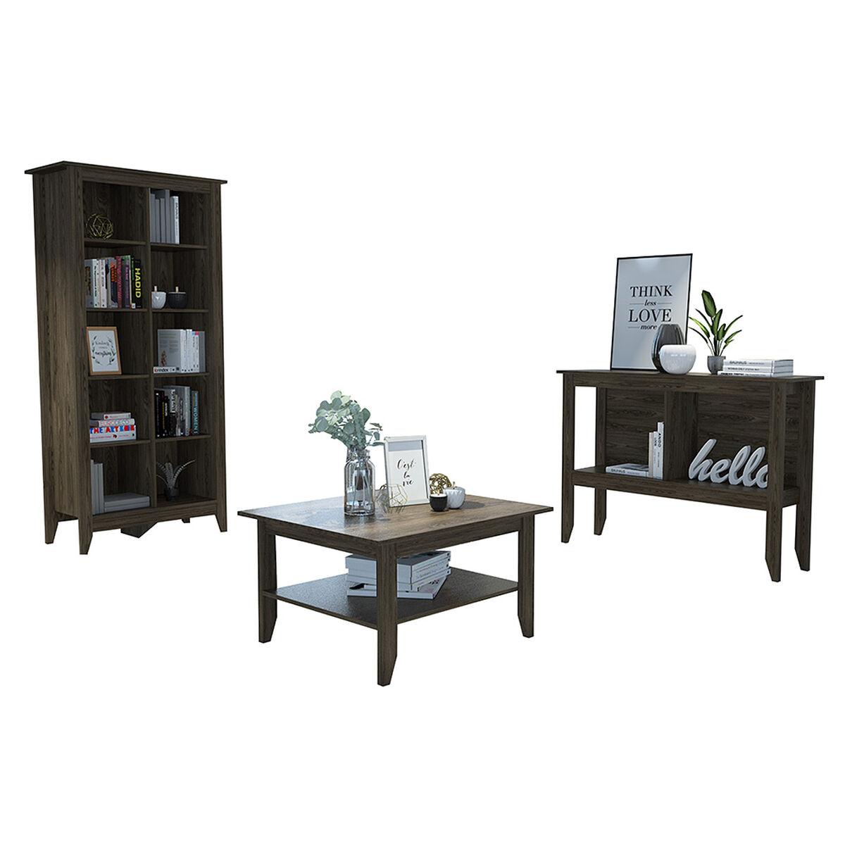 Combo Librero + Arrimo + Mesa de Centro Tuhome Essential 7