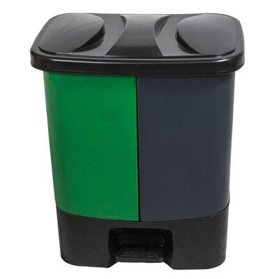 Basurero Allclean 2 en 1 Gris-Verde 40 lt
